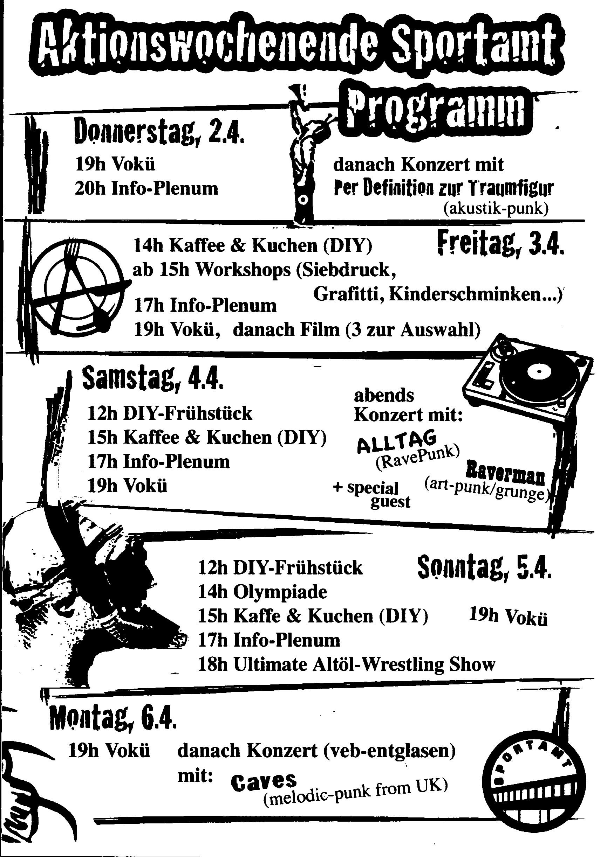 Altes Sportamt Programmflyer